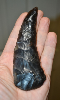 "A large, very rare and exquisite ""Museum quality"" Neolithic flint sickle from Thetford, Norfolk. SOLD"